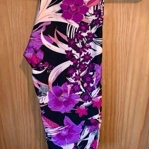 NWT OS LLR Purple Floral Printed Black Leggings